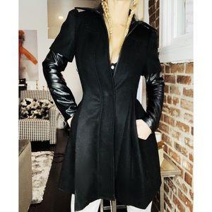 Bcbg leather sleeve  & collar petticoat pea coat